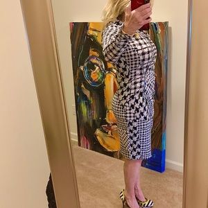 "EUC-""CACHE""-Houndstooth Faux Wrap Dress-Sz-Sm"